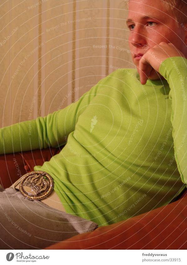 Man Green Wallpaper Sweater Buckle