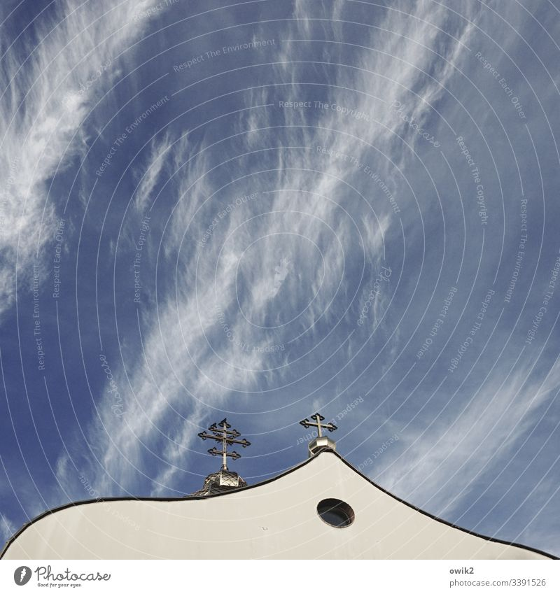 Greek Catholic Church in Poland Sky cirrostratus clouds Crucifix Christian Kreiz orthodox framed Wall (building) house of God Belief religion Christianity