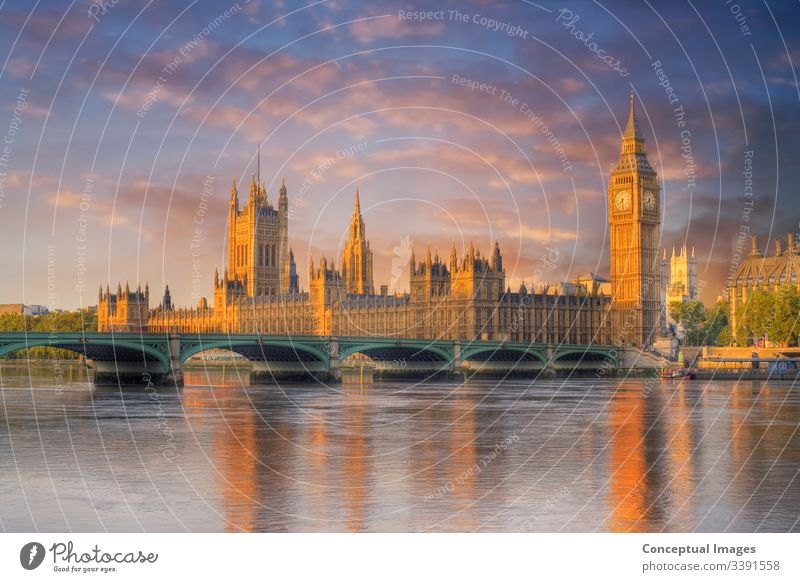 Big Ben and the Houses of Parliament at dawn. London. England. architecture attraction ben big bridge britain british building capital city cityscape clock
