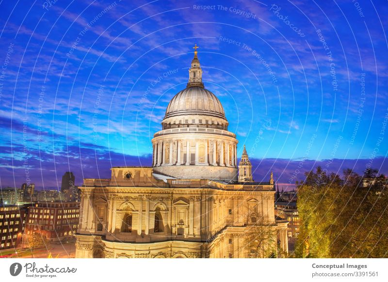 Elevated view of St Paul`s Cathedral, London,  England. Architecture Baroque (Period or style) British Capital city Christianity Church City City of London