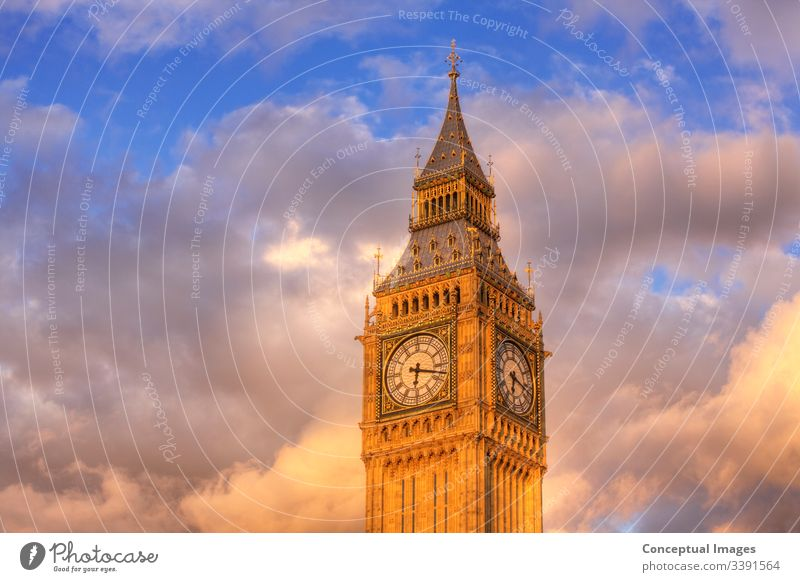 Close-up of the clock face of Big Ben, London, England. architecture attraction ben big bridge britain british building capital city cityscape culture