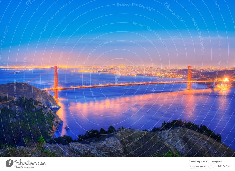 Elevated view of the Golden Gate Bridge at dusk, San Francisco, California, USA. america american architecture bay california city cityscape downtown