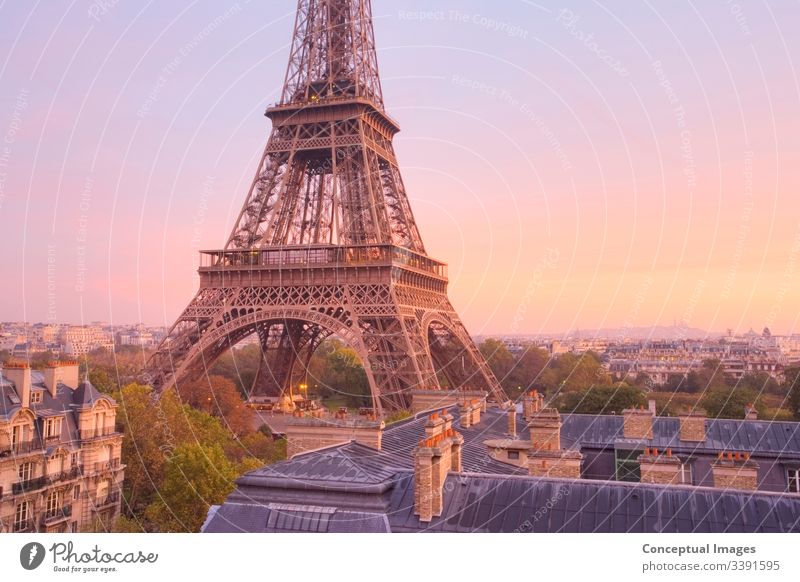 High view of the Eiffel Tower at dawn, Paris, France. architectural architecture attraction beautiful building capital city cityscape destination dusk
