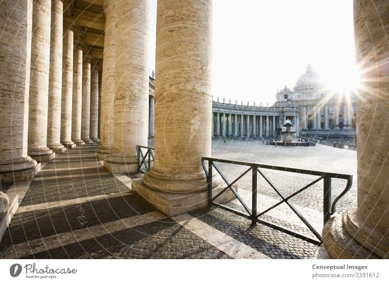 St Peter`s Basilica from Bernini`s Colonnade vatican, Rome, Italy. st peter basilica rome catholicism italy square saint city church cathedral colonnade pietro