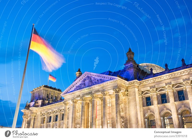 The Reichstag at dusk, Berlin, Germany. architectural architecture attraction berlin building bundestag capital city cityscape congress destination destinations