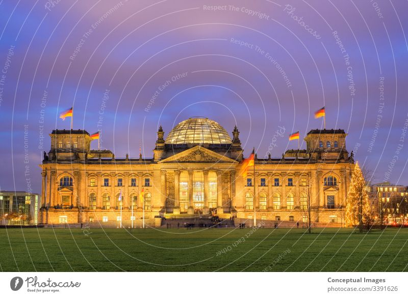 The Reichstag at dusk Berlin. Germany. architectural architecture attraction berlin building bundestag capital city cityscape congress destination destinations
