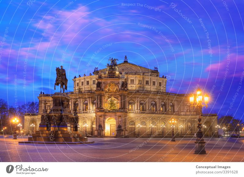 Semper opera house at dusk. Dresden, Germany. architecture attraction baroque beautiful bridge building cathedral church city cityscape cultural heritage