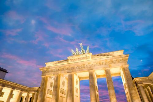 Brandenburg Gate at dusk Berlin, Germany. architectural architecture attraction berlin brandenburg gate building bundestag capital city cityscape congress