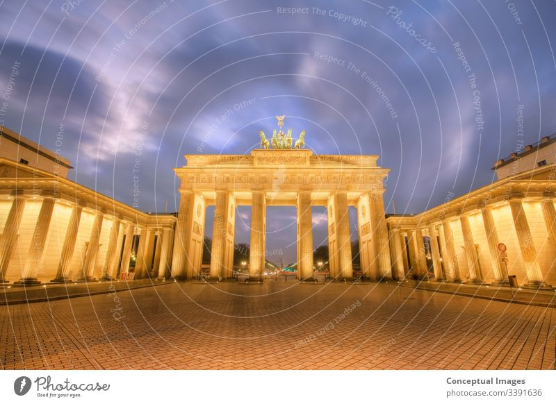 Brandenburg Gate at dusk Berlin, Germany. architectural architecture attraction berlin brandenburg gate building bundestag capital city cityscape congress