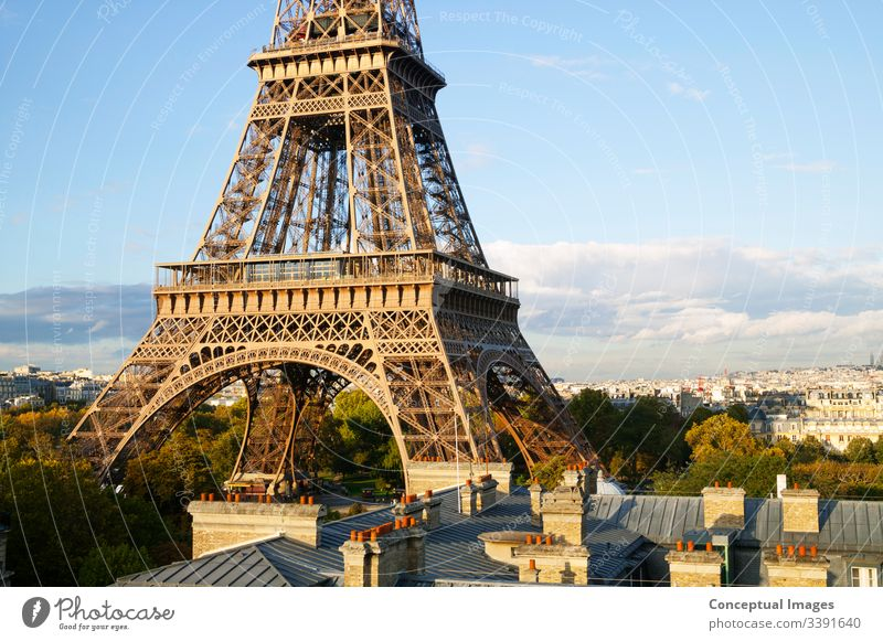 Elevated view of the Eiffel Tower, Paris. France. architectural architecture attraction beautiful building capital city cityscape dawn destination eifel tower