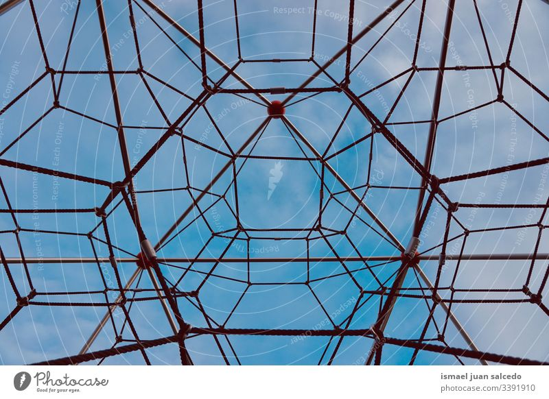 rope net, lines and shapes background web abstract blue sky street Structures and shapes Pattern Exterior shot Detail Network