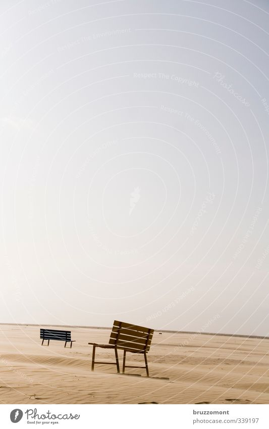 sandbank Sand Cloudless sky Climate Sit Wait Infinity Serene Horizon At odds with Bench Beach Walk on the beach Subdued colour Deserted Neutral Background