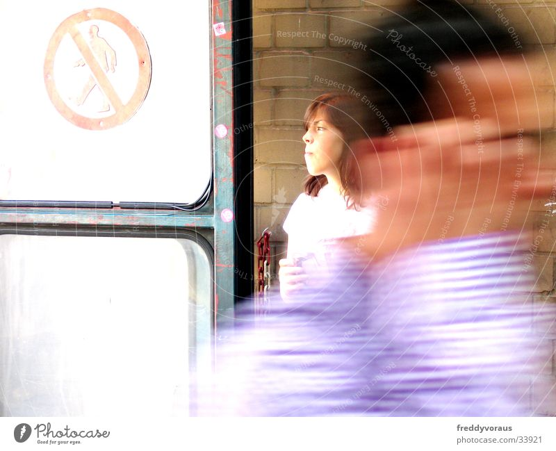 Woman Man Face Movement Door Signs and labeling Blur