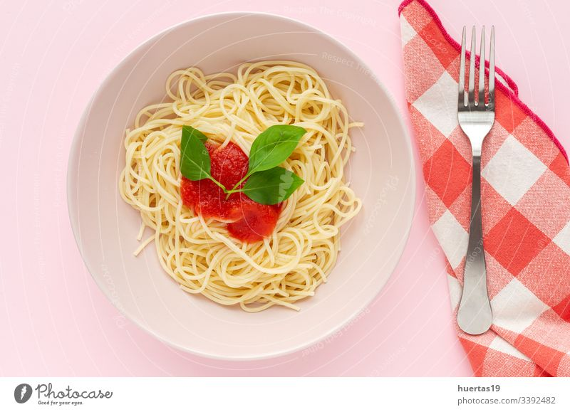 Homemade Spaghetti with tomato and basil sauce spaghetti food plate pasta white healthy italian lunch dinner Italian food homemade cooked stew pink delicious