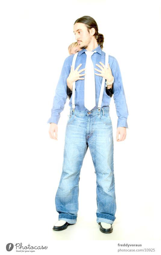 n&c*2 Man Woman Hand Touch Shirt Suspenders Tie Pants Love Lovers