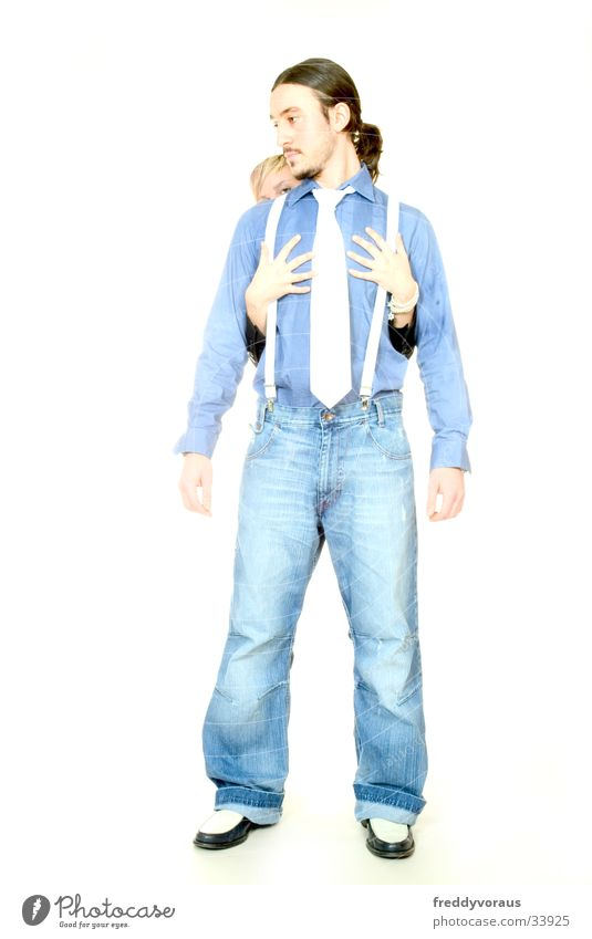 Woman Man Hand Love Pants Touch Shirt Tie Suspenders