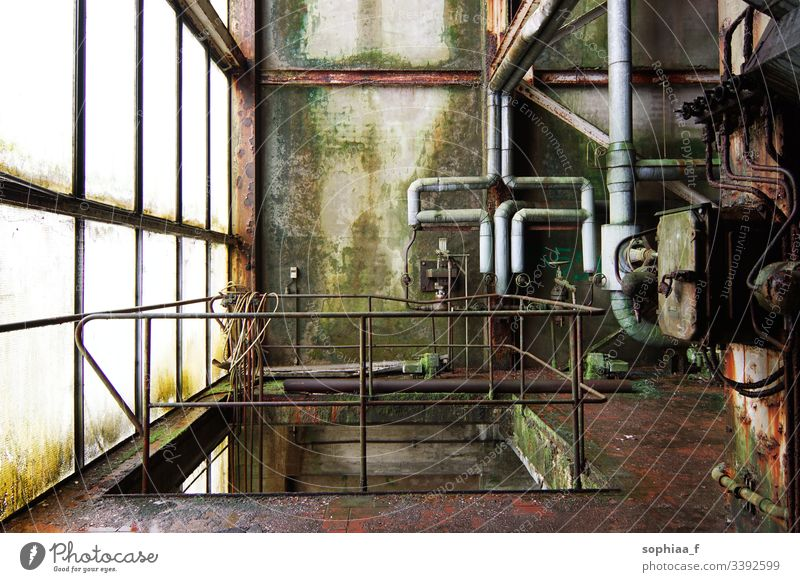 Shutdown - Abandoned paper mill, Lost Place.  Rust and moss pipes in an old factory lost place Factory Paper mill Transience lost places Industry reeds