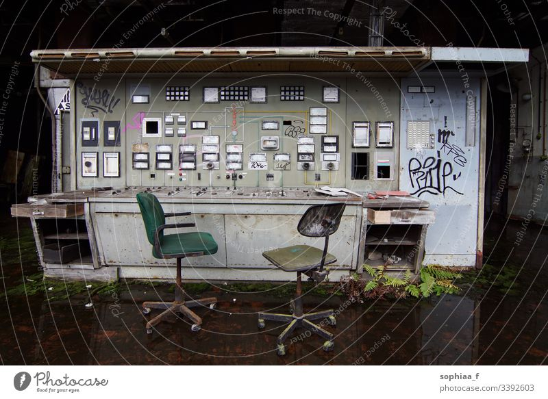 Control centre at standstill - Abandoned factory Control center lost places Factory Industry Unemployment Paper mill Transience Workplace Production Decline