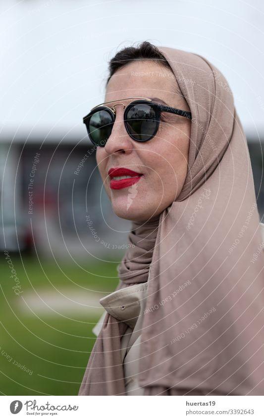 Arab woman with hijab Taking a selfie female attractive suitcase muslim muslim woman mobile phone arab baggage travel: islamic traveler arabian arabic trip