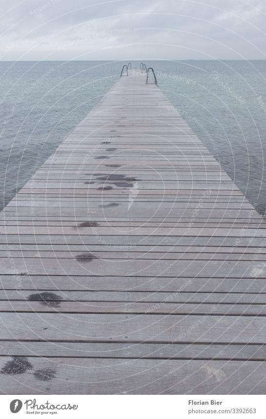 Wet footprints on a long jetty with swimming ladders in cloudy weather Footprint Ocean Footbridge wooden slats bathe Ladder Weather Clouds Rain Dreary Long Wood