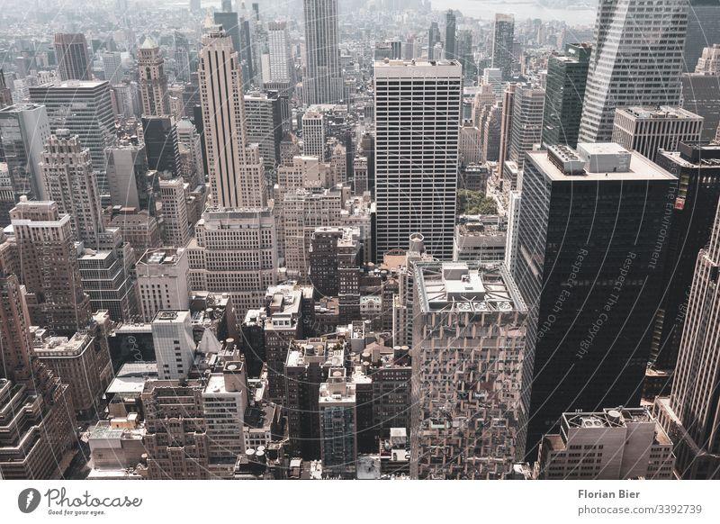 View over Manhattan High-rise Town Megacity New York City urban melting pot Concrete concrete desert USA Skyline City life Americas Freedom Esthetic Economy