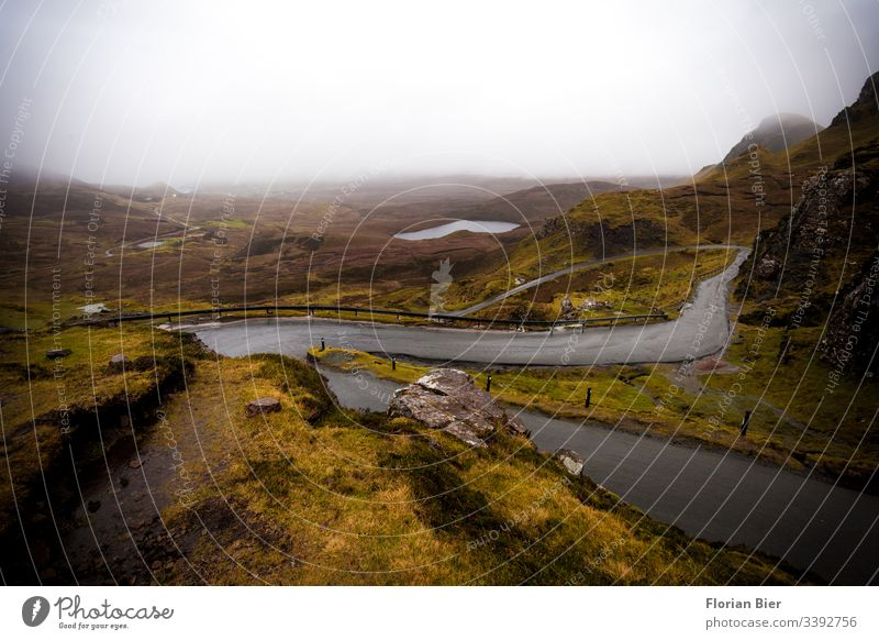 Pass road in the Highlands of Scotland pass road Street Asphalt Transport Connection Rain Bad weather Wet Gray Fog Green island life Island Europe brexite Empty