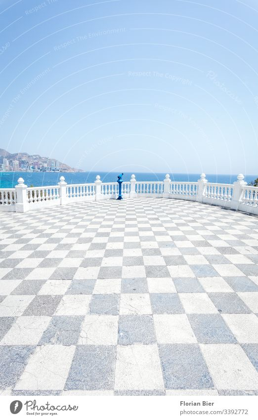 Flat view over the sea from a viewpoint with telescope clear Sky graphically Horizon Ocean Concrete Life vantage point Mediterranean Summer Vacation & Travel