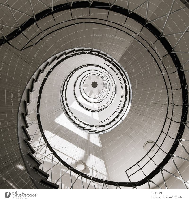 Spiral stairs with dizziness Vertigo Curve Circular Deserted Lighthouse Staircase (Hallway) House (Residential Structure) abstract pattern Architectural summary