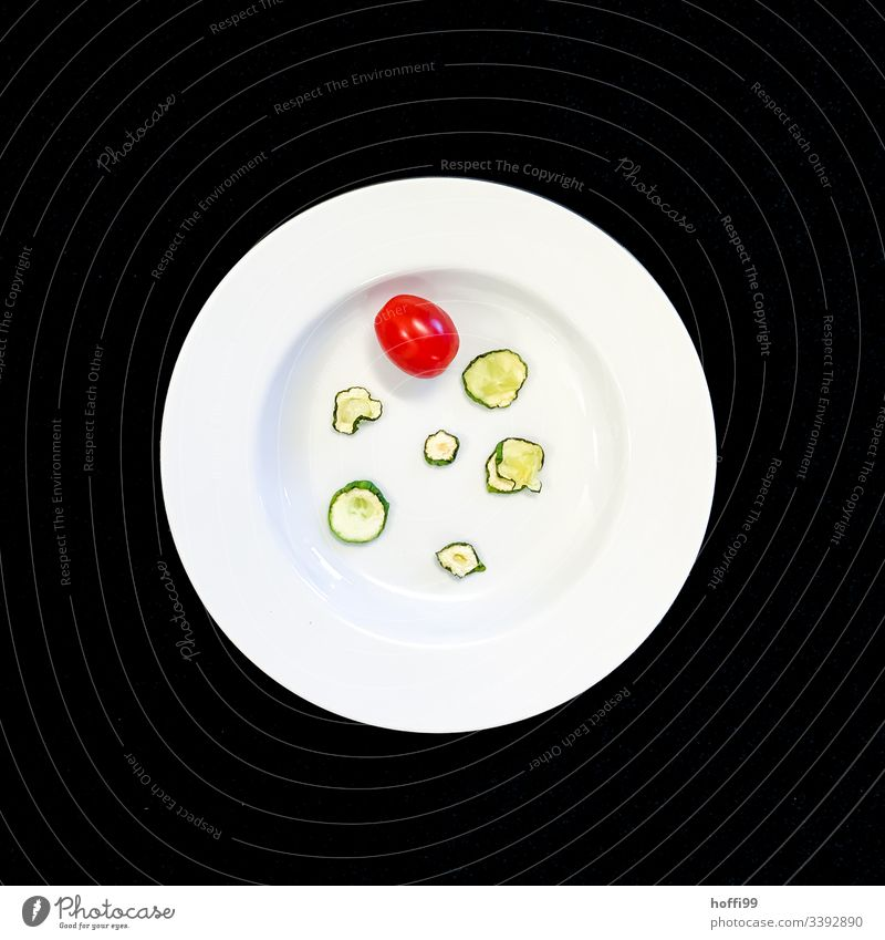 Plate with dried cucumber and tomato with black background Still Life Tomato Cucumber Slices of cucumber minimalism Minimalistic Art Round deep plate White