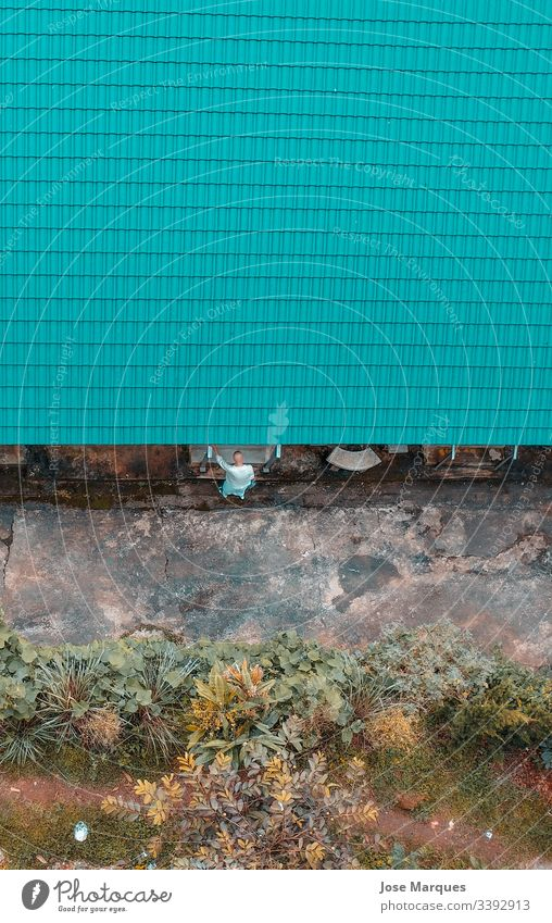 Buddhist man entering a house Drone dre Aerial photograph Nature Exterior shot Street House (Residential Structure) budism Wild Thailand Travel photography