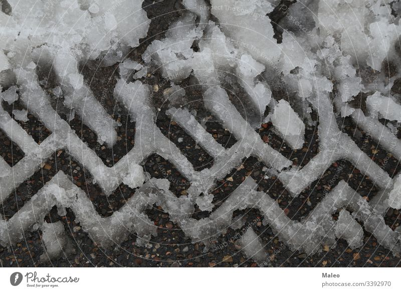wet snow pattern left by the tread of the vehicle Abstract backgrounds Infertile Snowstorm Car Cold country peril Equipment dirt Discovery Driveway Farm Flank