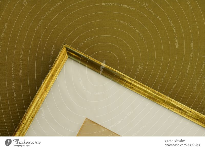 Canvas with golden frame and white passepartout passe-partout Frame Picture frame age Beige Art Image Wall (building) Gold Colour photo Deserted
