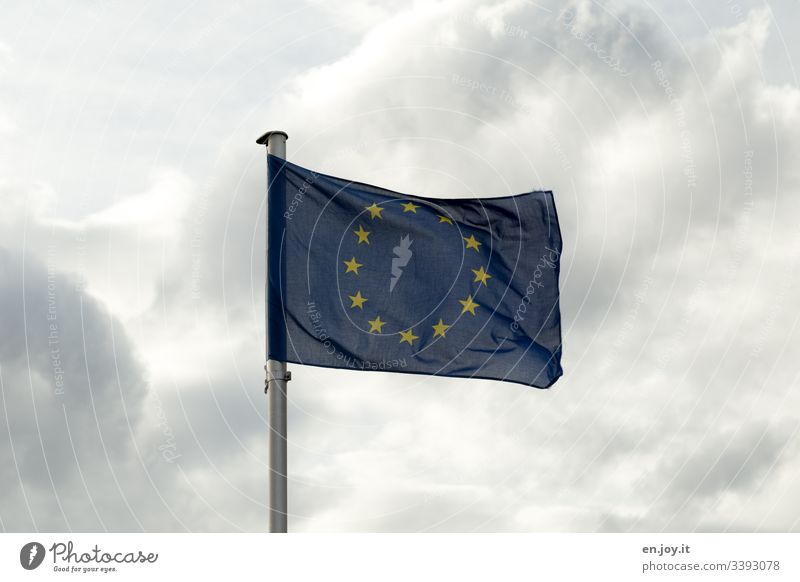 European flag in front of cloudy sky Flag Europe European Union Blue Sky Clouds stars Flagpole