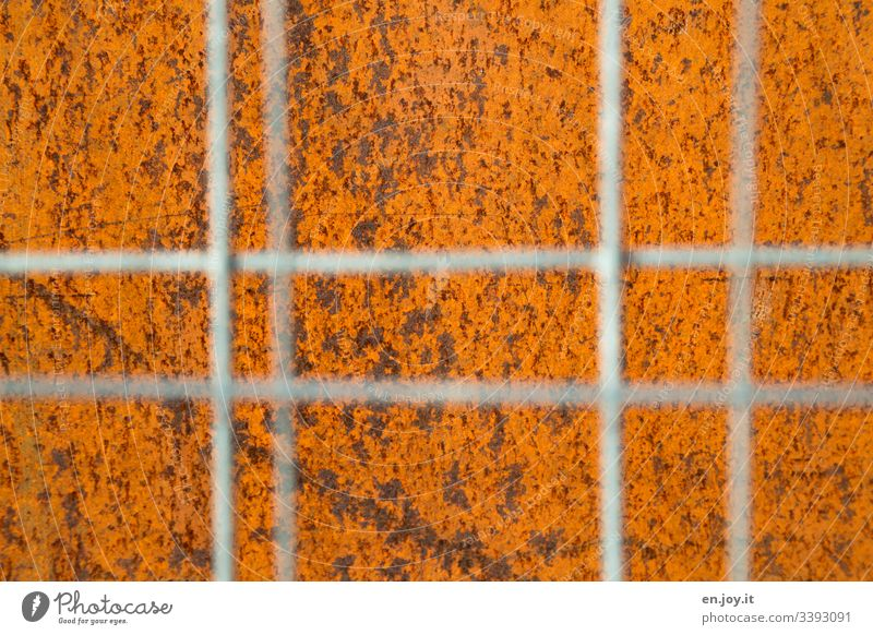 grate behind bars Rust corroded Old Corrosion Grating Hoarding Blur Orange Construction site Factory Industry