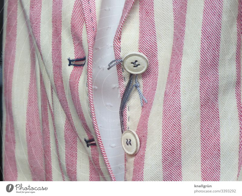 Close-up of a red-white striped ladies blazer with two buttons Blazer Ladies blazers Modern Fashion Buttons Stripe Clothing Colour photo Style Adults Detail