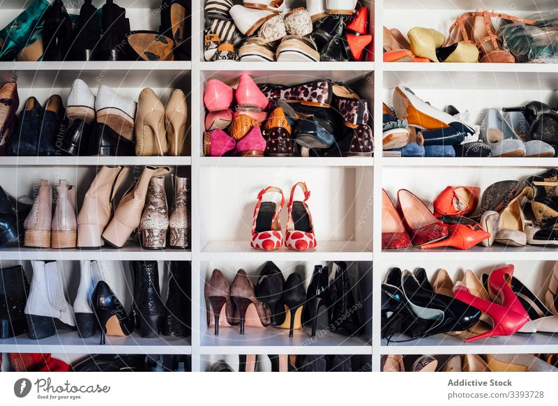Assortment of female shoes in wardrobe footwear closet apartment shelf high heels colorful expensive rack storage various style fashion assorted design