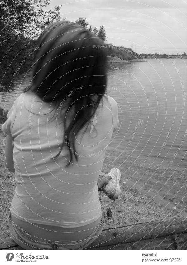 B/W Silence Woman Girl Lake Black & white photo Back Hair and hairstyles Sky Water Sand