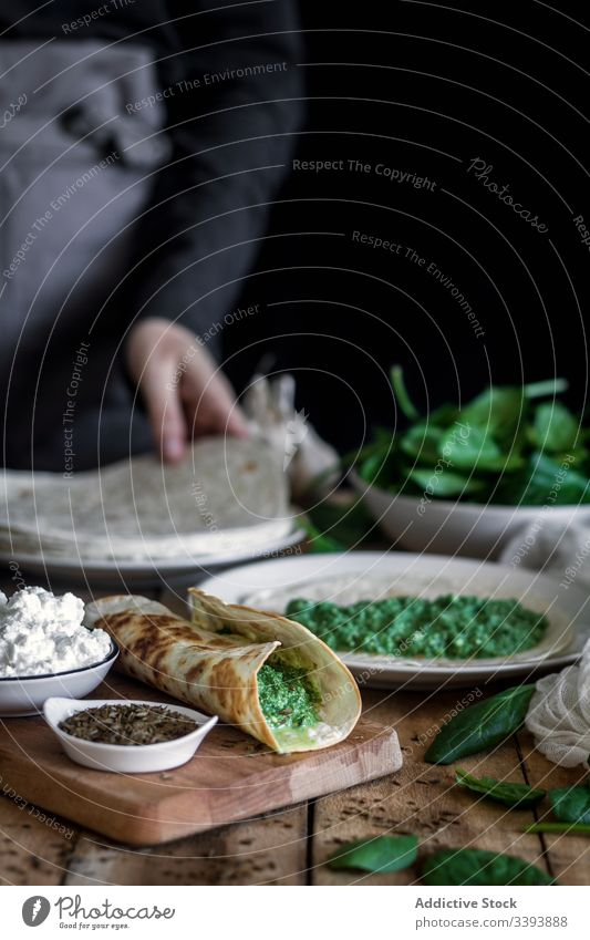 Grilled spinach fajitas served with cottage cheese and sauce tortilla grill table ingredient colorful green dish cuisine tasty tradition delicious meal food
