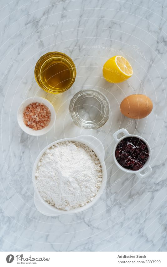 Ingredients for bake recipe on marble background ingredient food cooking kitchen meal preparation fresh cuisine dish culinary gastronomy nutrition raw set