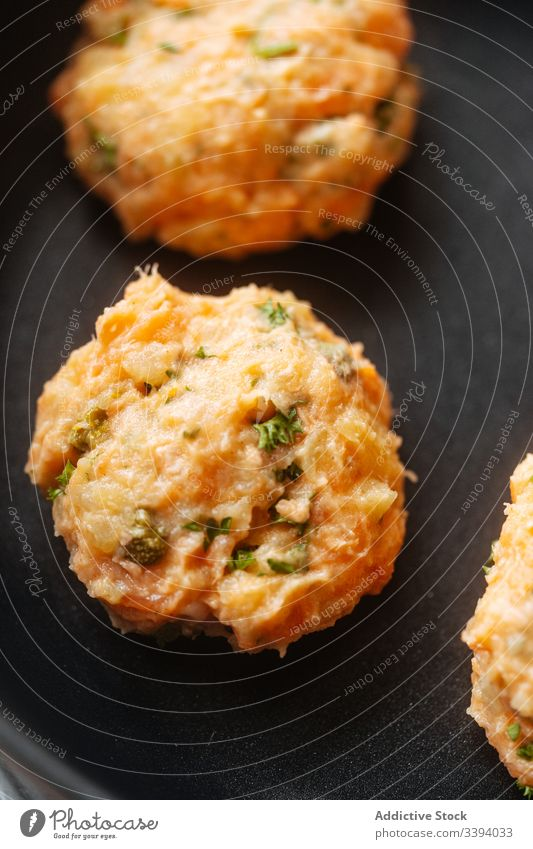 Uncooked fish and vegetable burgers cutlet cooking food recipe salmon meatless stuffing ingredient kitchen healthy alternative seafood meal dinner lunch