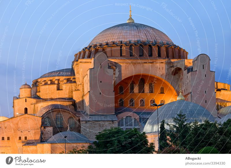 Hagia Sophia at dusk in the city of Istanbul in Turkey Ayasofya byzantine constantinople turkey building Turkish historic heritage landmark middle east