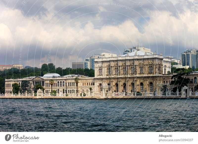Dolmabahce Palace, view from the Bosphorus Strait in Istanbul, Turkey dolmabahce palace istanbul bosporus bosphorus turkey strait coastline facade architecture