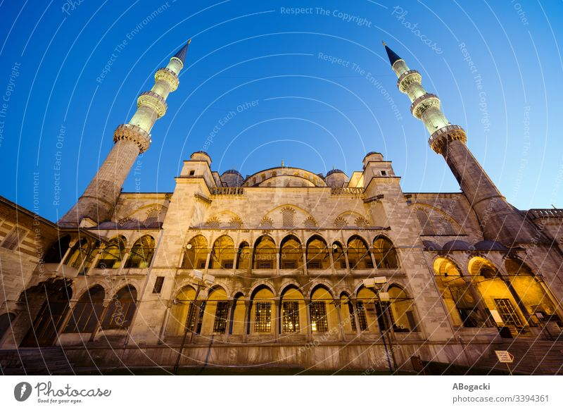 Blue Mosque at Dusk mosque blue mosque istanbul turkey historic landmark building religious structure architecture exterior outdoor heritage turkish camii
