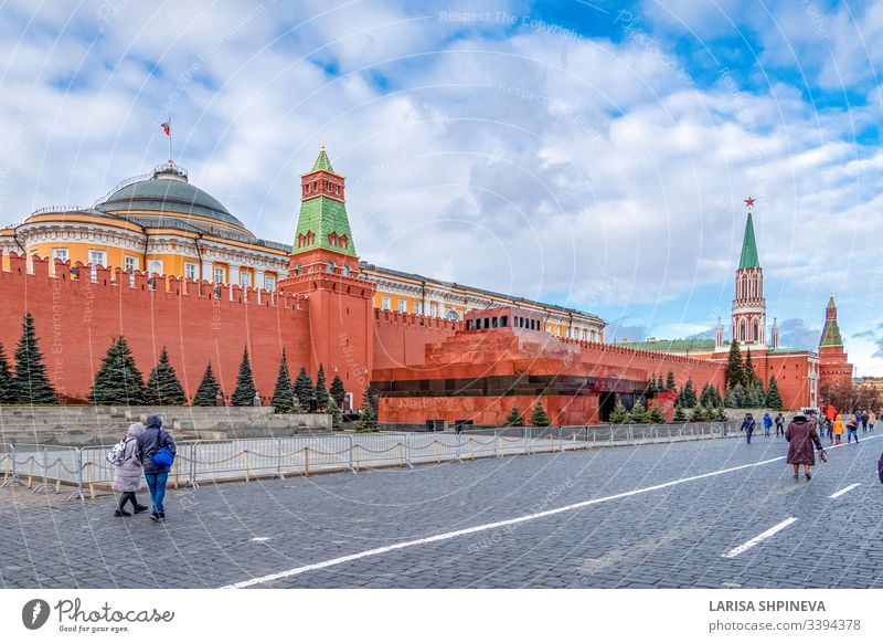 Moscow Kremlin with mausoleum of Lenin - fortified complex in center city on Red Square, Moscow, Russia moscow kremlin landmark square tower red architecture