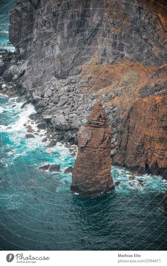 Big rock at the Atlantic coast in the Azores São Miguel Sao Miguel Atlantic Ocean Coast Exterior shot Brown Clouds Adventure Summer Water Blue Bird's-eye view