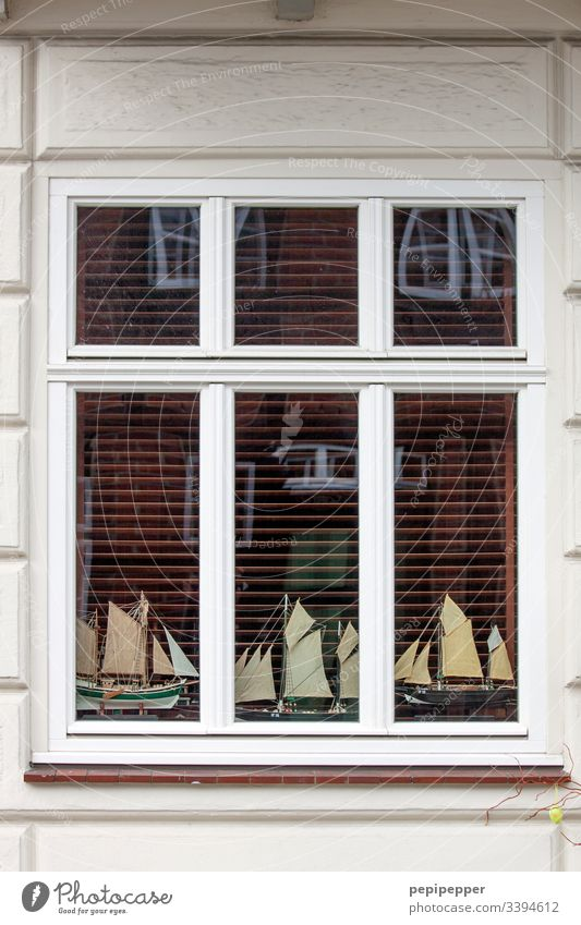 model making, ships, windows Model-making Sailing ship Window Facade Navigation Sailboat Colour photo schalusie Deserted reflection windowsill Pane