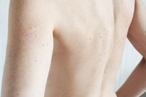 back Back Skin Woman Freckles Mole liver spots Shoulder sleeves Feminine Naked Adults Body Interior shot 30 - 45 years Colour photo Upper body Rear view