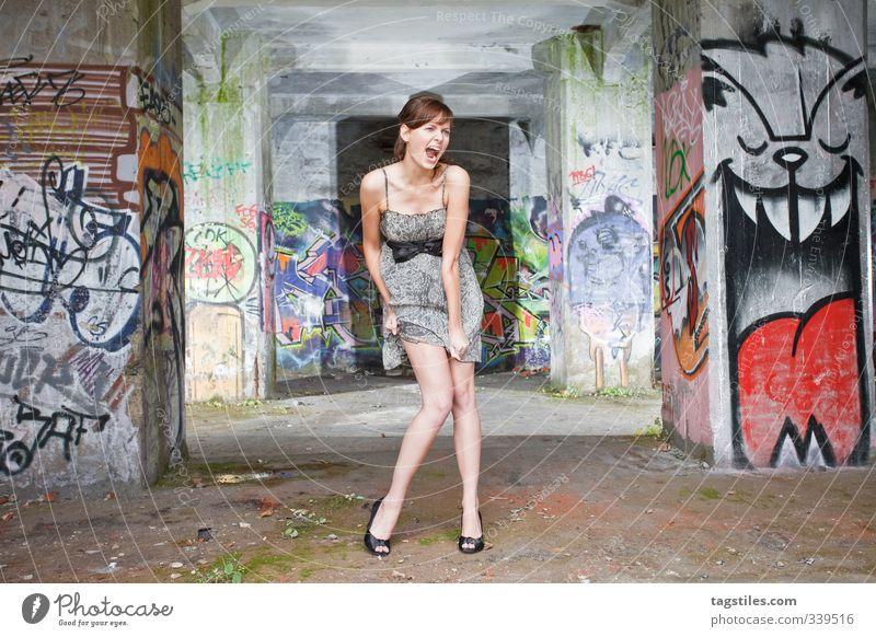 Scream Woman Graffiti Trashy Dismantling Decline Contrast Young woman Beautiful Old Dirty Wild Free Dress Brunette Eroticism High heels Warehouse Hall Ruin Legs