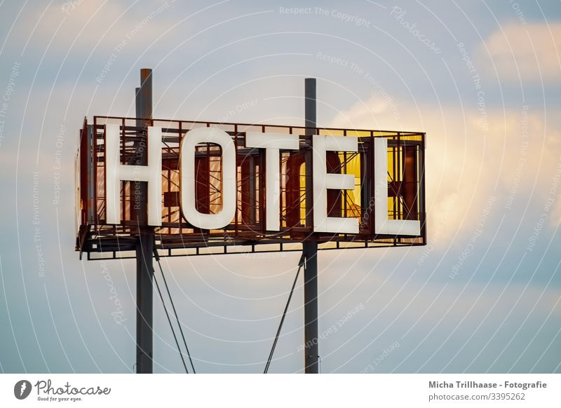 Hotel illuminated advertising Neon sign advertising sign Advertising Signage vacation overnight travel travelers holidays Accommodation Domicile room Tourism
