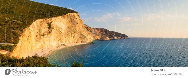 Porto Katsiki beach on Lefkada island, Greece ionian paradise beautiful seascape rock lefkas blue vacation scenic lefkada coast cliff bay turquoise landscape